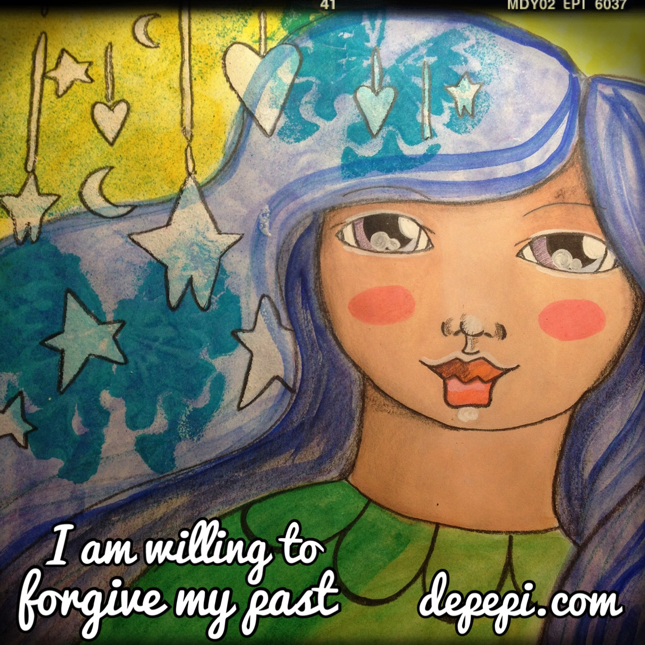 mixed media, mixed media art, journaling, affirmations, affirmation, kawaii, cute, depepi, depepi.com