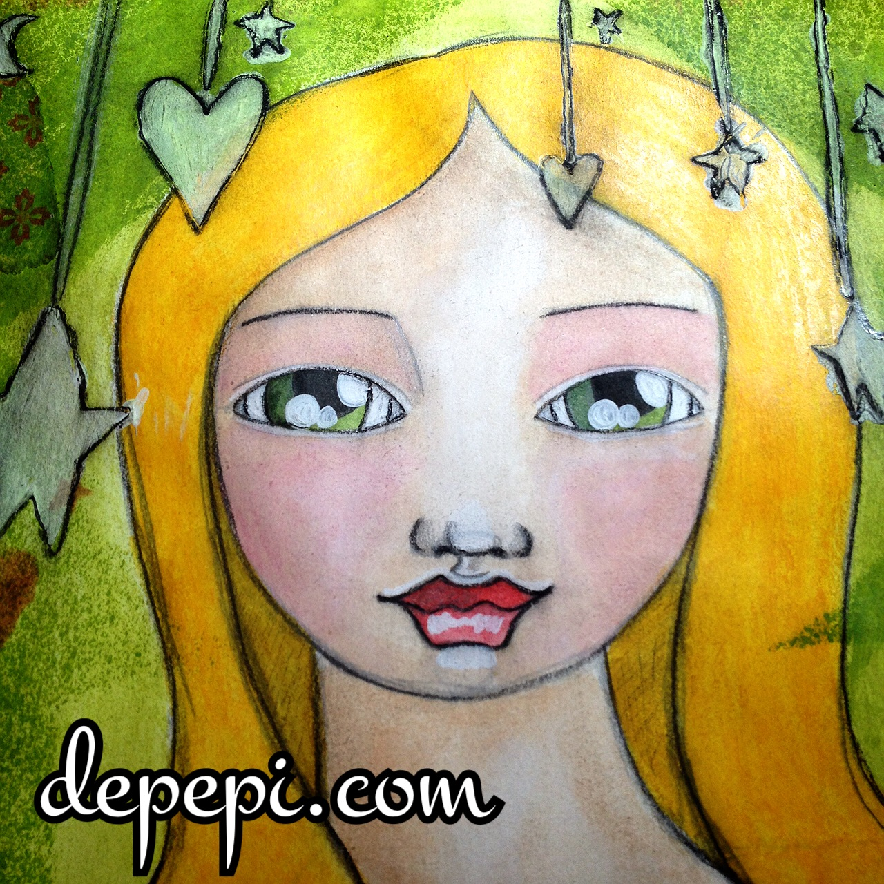 mixed media love, mixed media art, mixed media, depepi, depepi.com, whimsy, whimsical art, neocolor II, watersoluble, journaling, kawaii, cute