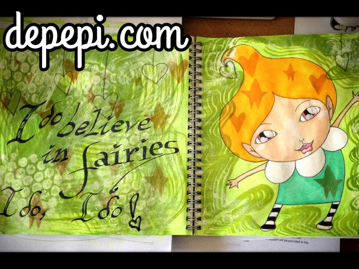 depepi.com, depepi, mixed media, mixed media art, whimsy challenge,  whimsical, whimsy, cute, kawaii